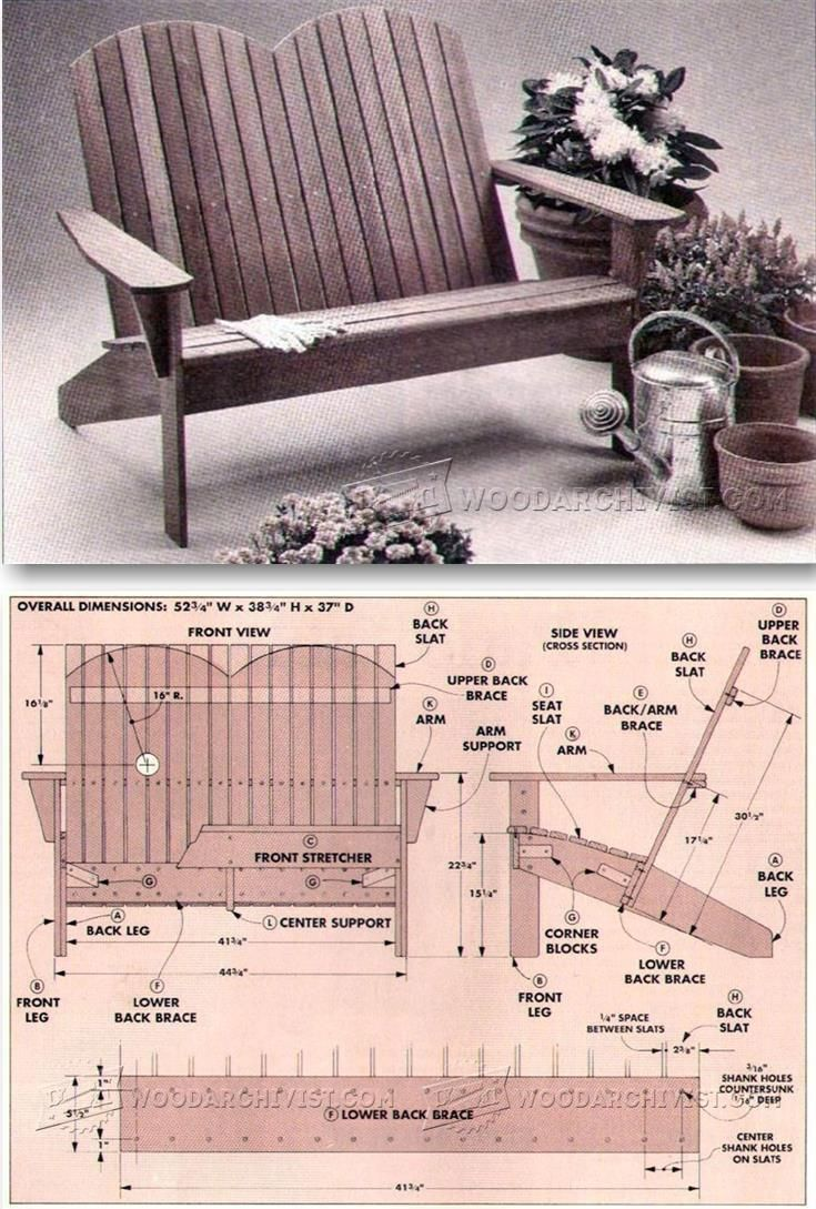 Adirondack chair back slats - Adirondack Settee Plans Outdoor Furniture Plans And Projects Woodarchivist Com