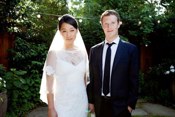 Mark Zuckerberg married his college sweetheart! Gown by Claire Pettibone.