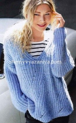 Пуловер с V-образной горловиной патентным узором