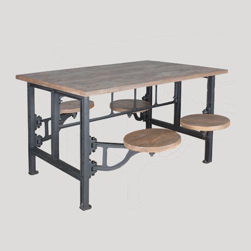 MESA COMEDOR TABURETES Material:Hierro y madera de pino Colores:Negro y natural Medidas:130x92x78H Hanbel - Tienda online - Mueble