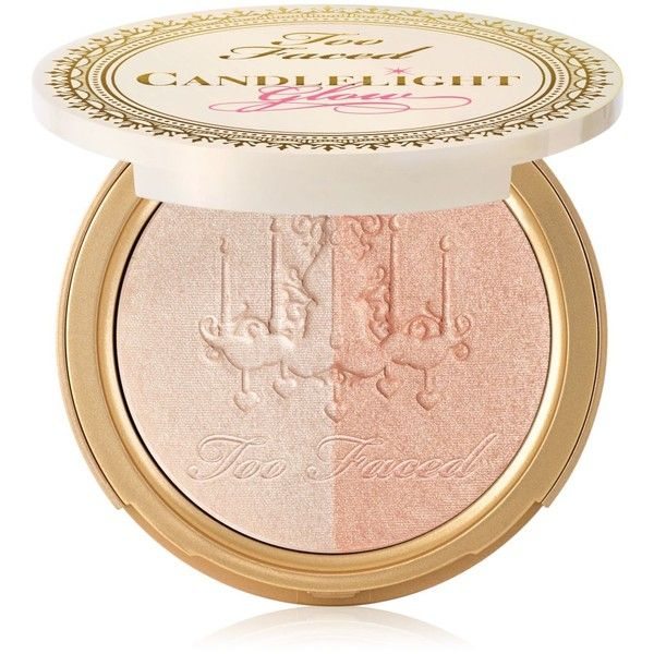 Too Faced Candlelight Glow Highlighting Powder Duo found on Polyvore featuring beauty products, makeup, face makeup, face powder, warm glow, too faced cosmetics and highlight face makeup