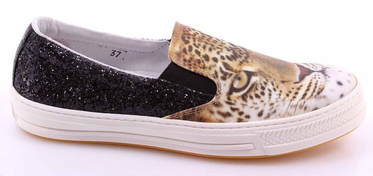 Women's Slip On Sneakers CHANGE! Giaguaro Raso Bianco Glitter Nero Made Italy | eBay