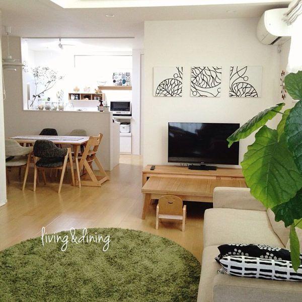 ダイニングインテリア50選☆人気スタイルを一挙ご紹介! | folk 家具やファブリックでつながりを持たせたダイニングとリビング。ホワイトを基調