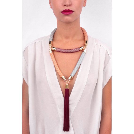 Multicolored Rope Statement Necklace.Large.Oversized Jewelry.Tassel.Autumn Necklace.Geometrical.Triangle Necklace