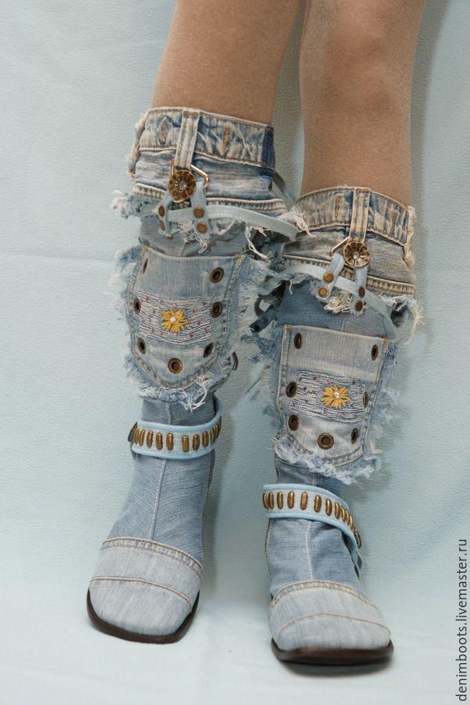 Купить Сапоги джинсовые, каблук 2см. - голубой, синий, черный, серый, деним, джинсовый стиль