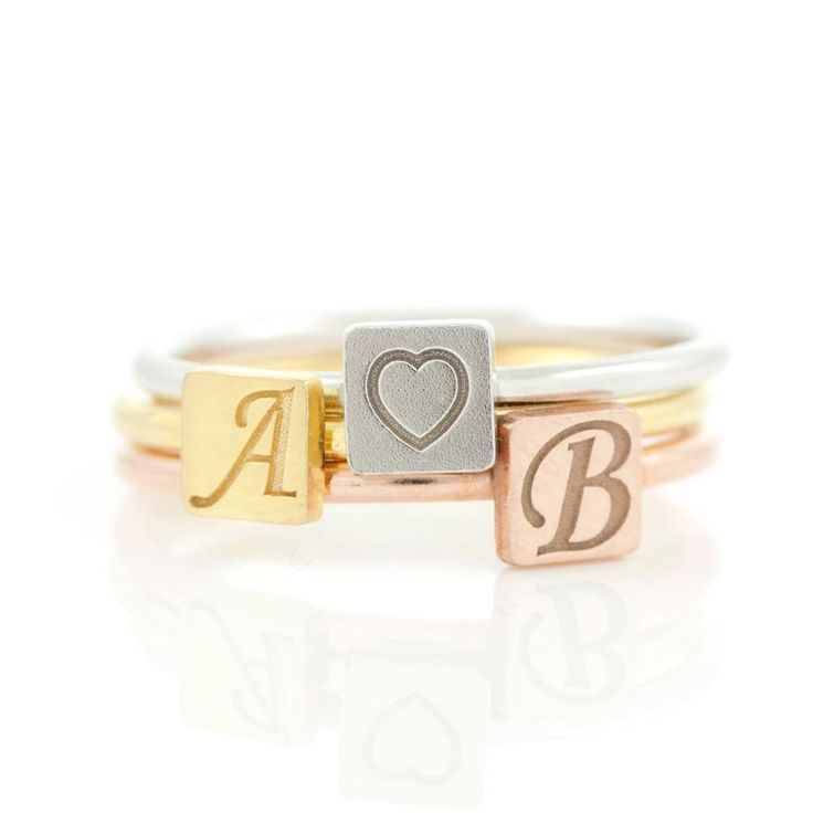 Personalized square initial ring