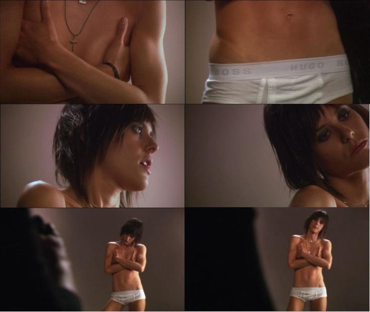 Shane (Katherine Moennig) models Hugo Boss briefs in The L Word.