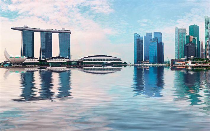 壁紙をダウンロードする マリーナベイサンズ, シンガポール, 4k, 高層ビル群, 近代建築, マリーナベイ