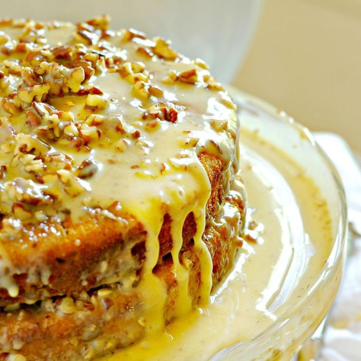 Pumpkin Praline Cake *use homemade yellow cake mix and possibly homemade sweetened condensed milk*