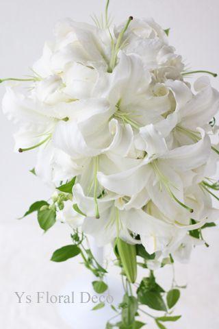 ボリューミーなユリのキャスケードブーケ ys floral deco @ウェスティンホテル東京...
