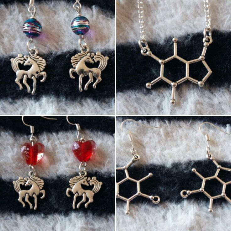 Today's new makes.    #handmade #accessories #personalised #custommade #gift #jewellery #charms #beads #colours #silver #earrings #necklace #pendant #chain #unicorn #caffeine #molecules     http://stores.ebay.co.uk/cazmade
