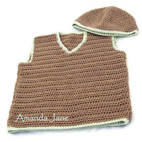 Boy's Vest + Free Hat OOAK 1 - 2 years - Brown & Pale Green - Eco Natural Cotton - Handmade by Amanda Jane in Ireland