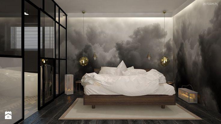 Dom w Kępnie - Średnia sypialnia małżeńska z łazienką, styl eklektyczny - zdjęcie od 28 FORM