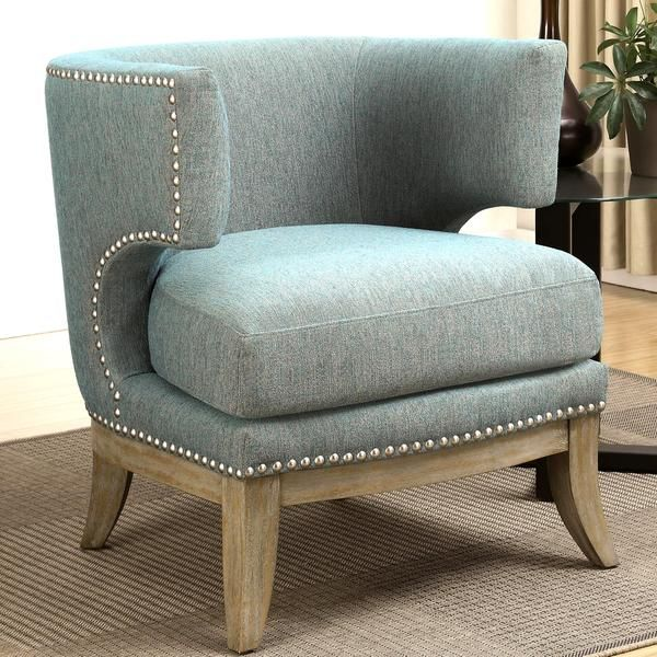 Best Luxenberg Mid Century Modern Barrel Back Design Soft Blue Accent Chair With Nailhead Trim Blue 400 x 300