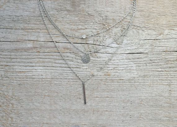 Silver layering necklace - multi layer silver layered necklace,  silver necklaces, layering necklace, multistrand neckalce * FREE SHIPPING