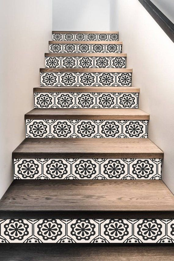Stair Riser Stickers – Removable Stair Riser Tile Decals – Testino Pack of 6 in Black – Peel & Stick Stair Riser Deco Strips – 48″ long