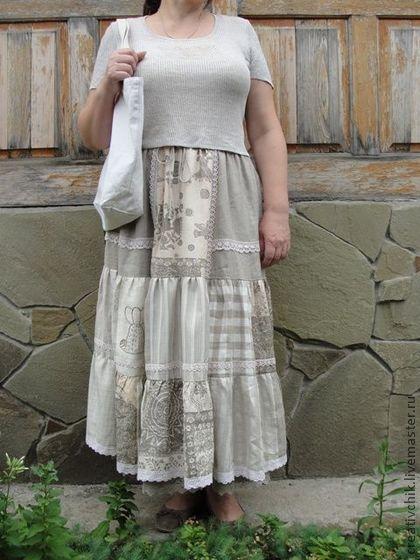 Юбка льняная многоярусная авторская - юбка,юбка льняная,натуральные ткани