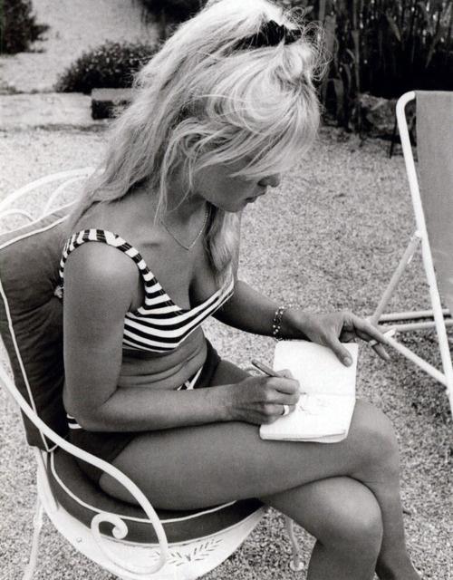 Teeny weeny striped bikini.