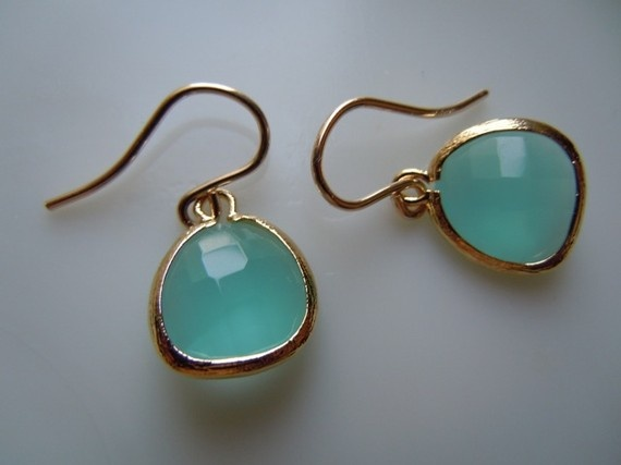 Simple and pretty. Seafoam Opal Glass with 16K Gold Earrings.