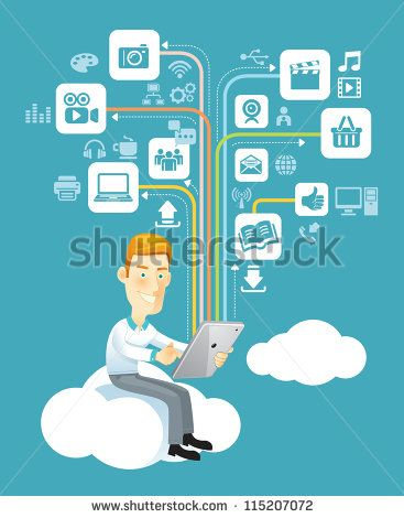 Business man using a tablet sitting on a cloud with social media, communication icons. Vector illustration