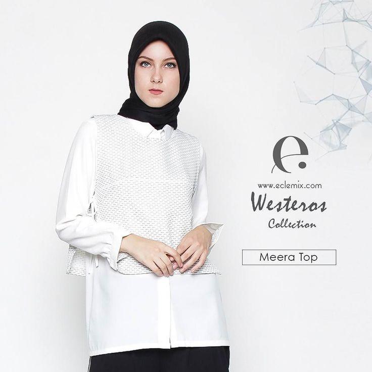 Good night ladies.  If you love zwei #top we bet you gonna love meera top as well. #White #outfit can look anything but boring.  Dengan sedikit permainan tekstur pada bahan bisa memberikan kesan sophisticated di tampilan monokrom kamu.  Available at www.eclemix.com and also www.hijup.com  Happy #shopping while thank God its Friday :) #eclemixcatalog  #fashion #fashionhijab #hijab #localbrandindonesia  #bandung #hijup #ootd