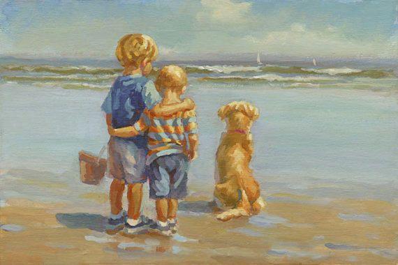 TWEE BLONDE jongens op het strand-art afdrukken 7 x 10 1/2