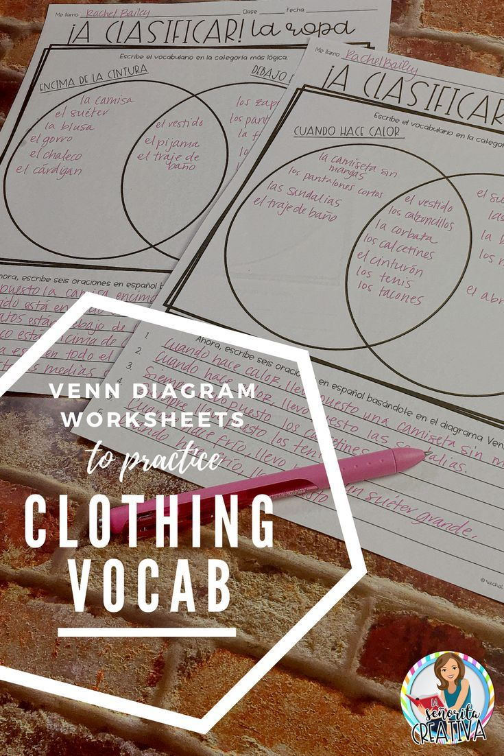 Graphic Organizers Venn Diagrams For Clothing And Accessories In Spanish Practice Categorizing Vocab Graphic Organizers Elementary Spanish Learning Spanish [ 1102 x 735 Pixel ]