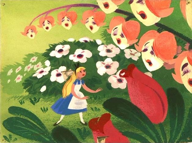theshipthatflew:    Mary Blair, Concept art for Alice in Wonderland, via kitschyliving  Is there anything better than Mary Blair Disney concept art?