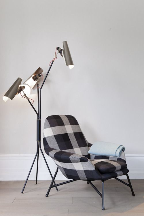 Prince armchair from Minotti and Jackson floor lamp from Delightfull