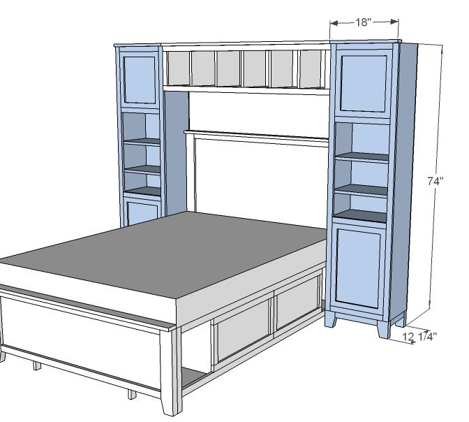ana white build a hailey towers for the storage bed system free and easy