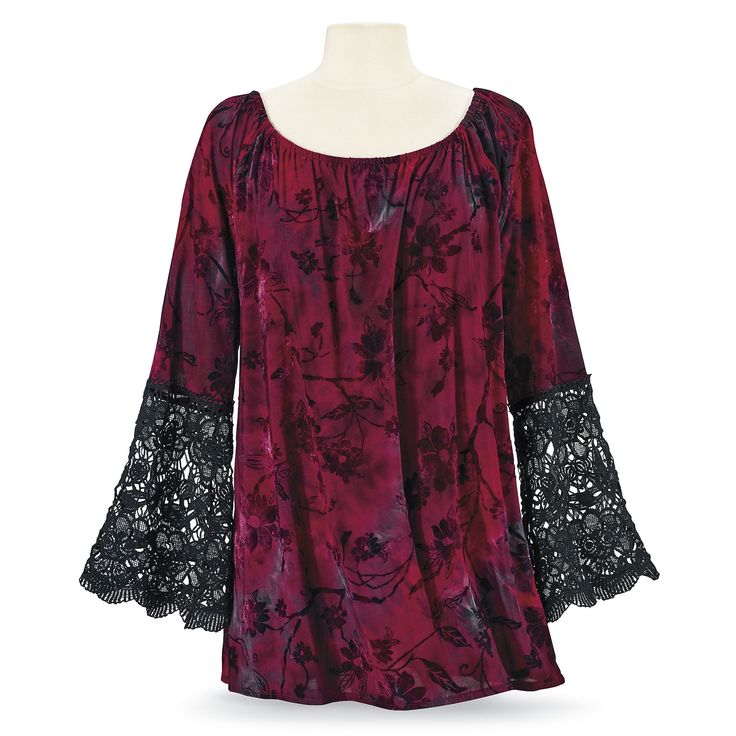 Berry Burnout Tunic - Women's Romantic & Fantasy Inspired Fashions