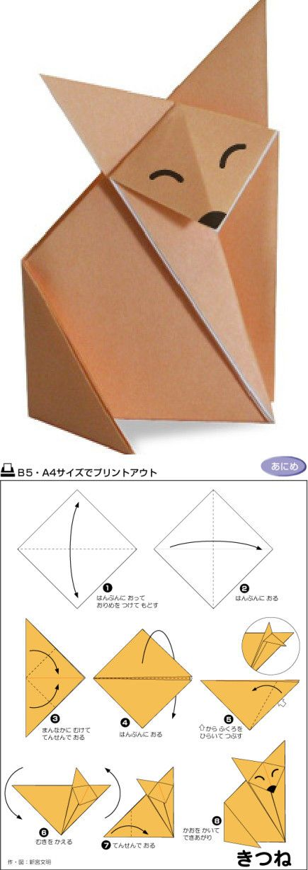 ◇ Easy cute origami fox. The instructions aren't in English, but the diagrams are very good. I made a few of these and it was easy. ◇