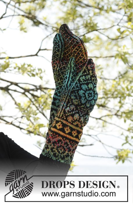 """I have these, they are so cool.  Knitted DROPS mittens with pattern in """"Fabel"""". ~ DROPS Design"""