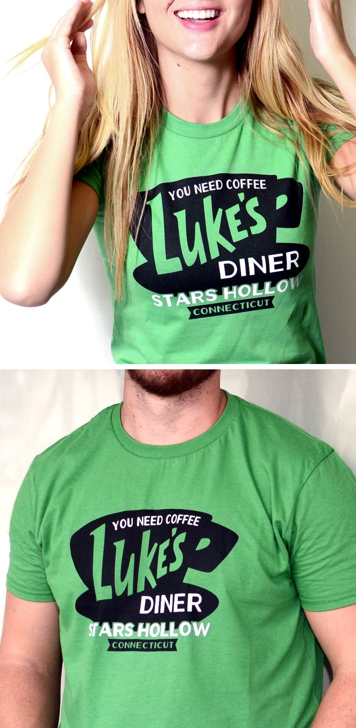"""Get used to hearing, """"Where'd you get that shirt? I love it!"""" Luke's Diner, Stars Hollow, CT t-shirt for men, women and kids from SnorgTees.  Whether you're looking to upgrade your t-shirt collection or need a clever gift for someone special, SnorgTees is a must."""