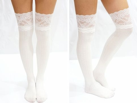 Thigh Lace Knit Knee High socks Boot socks -white