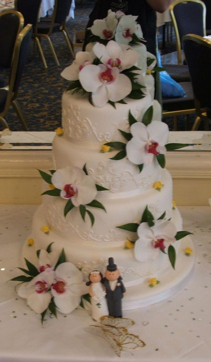 Wedding Cake decorated with Orchid Heads
