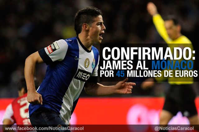 Mónaco y Porto lo hacen oficial: James Rodríguez es nuevo jugador del club francés http://www.golcaracol.com/futbol-internacional/otras-ligas-internacionales/ligue-1-francia/articulo-273048-monaco-y-porto-hacen-oficial-james-rodriguez-nu
