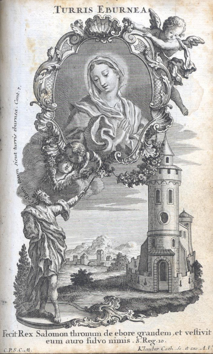 """Turris Eburnea Tower of Ivory - There are three major elements in this illustration:  the customary half-image of Maria Orans; King Solomon pointing with his scepter to the Marian medallion, and the """"Tower of Ivory"""" which seems to be part of a castle.  Solomon seems to be uttering these  words, """"Your neck is like a tower of ivory"""" (Canticle of Canticles 7:5).  This sentence is part of the description of Shulammite's, the bride's beauty.  Attributed to Mary in the Middle Ages, this symbol…"""
