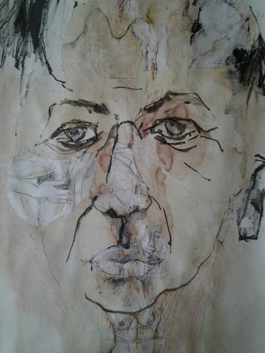 Working over old drawings, using torn up old drawings.