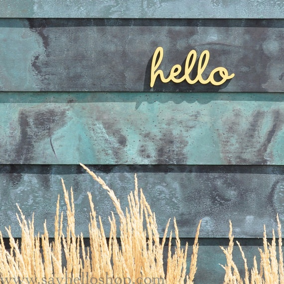 Little Hello Wall Sign. I painted this one yellow. $7