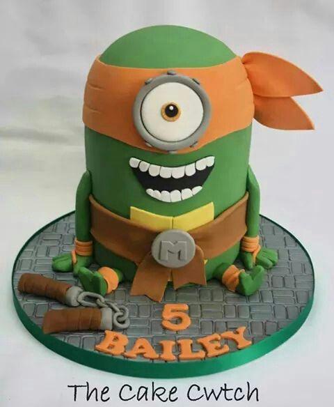Minion ninja turtle cake