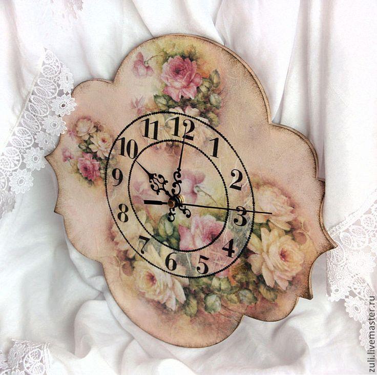 """Купить Часы """"Мадмуазель Жюли"""" - бледно-розовый, часы, часы настенные, часы интерьерные"""