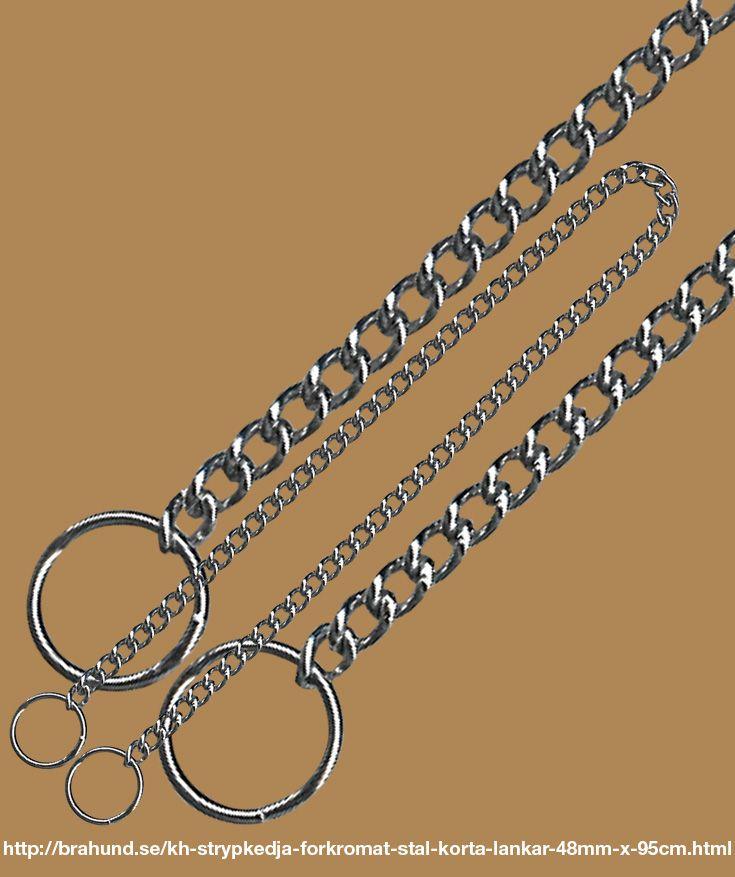 KH Strypkedja, förkromat stål, korta länkar, 4.8mm x 95cm. Fabrikat King Hound. Bra kvalitét till bra pris. De korta länkarna glider lätt igenom ringen. Idealisk för arbete med hunden. Passar bra till både kort- och långhåriga hundar.