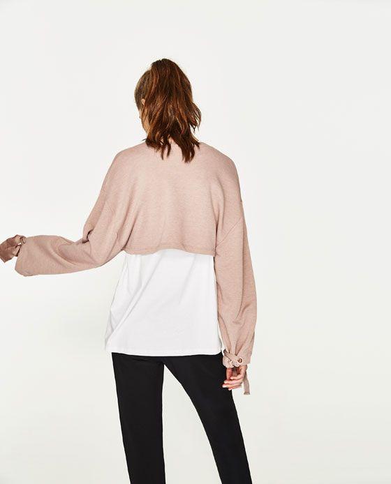 Imagem 5 de SWEATSHIRT CROPPED COM FAIXAS da Zara