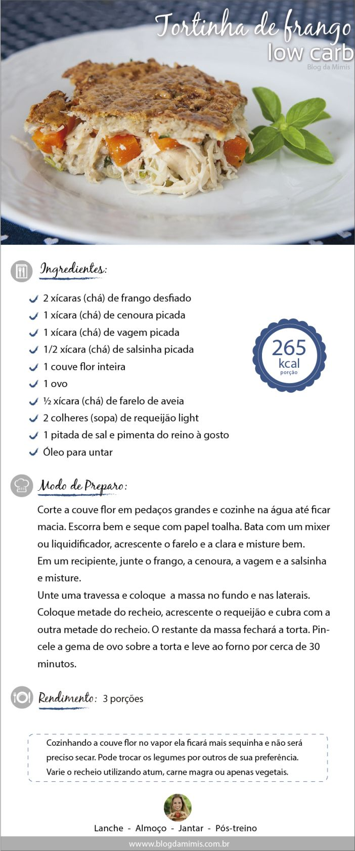 Tortinha de frango low carb