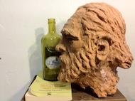 """""""Bukowski"""", scultura in terracotta patinata. By Giovanni Massariello"""