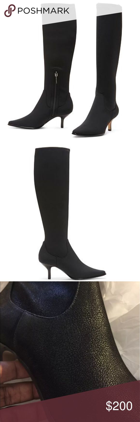 "NEW🎉 DONALD J. PLINER KITTEN BOOT ❌NO TRADES❌ BRAND NEW WOMENS EXQUISITE HIGH LEG BOOTS WITH KITTEN HEEL. SUPER SEXY CAN BE WORN YEAR ROUND. BLACK WITH 2.5"" heel. As soon as you walk into the room with these boots on everyone will know that you are a woman with taste. Donald J. PLINER is no regular shoe brand it is one of the elite shoe lines out there. The material stretches so it CAN go over MOST Calves.  Comes with box. Light quality Man made upper material, with kitten heel and fits…"