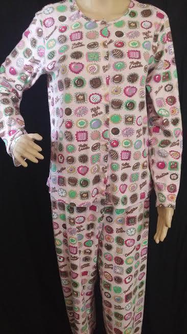 Nick and Nora pajamas 2 piece set cotton pink candies candy pjs M #NickNora #PajamaSets