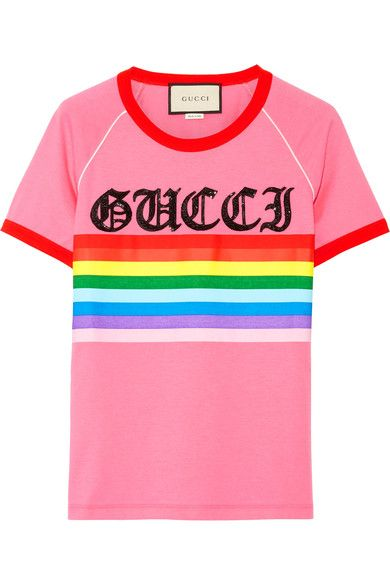 Gucci - Appliquéd Printed Cotton-jersey T-shirt - Pink - medium