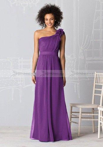 A-line One-shoulder Floor-length Chiffon Bridesmaid Dresses